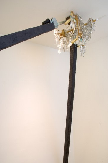 Great Expectations, 2008, Aluminum, tar, jacks, chandelier, Overall size variable (detail)