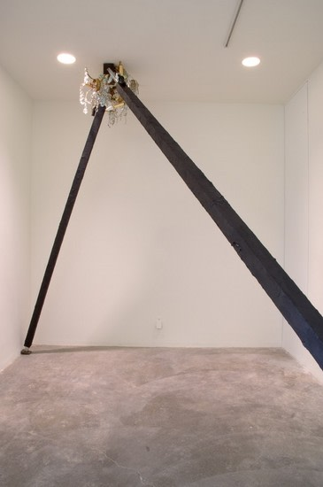 Great Expectations, 2008, Aluminum, tar, jacks, chandelier, Overall size variable