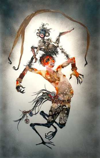 I Put a Spell on You, 2005, Ink, acrylic, spray paint, collage, contact paper, packing tape on mylar, 81