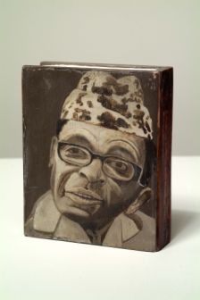 "A Cunning Baffling Well Meaning Lout, 2006, Acrylic on wood, 7"" x 5.75"" x 1.25"""