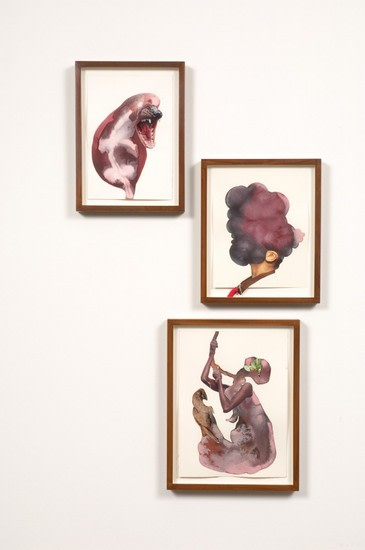 Hung man screams, 2008, Watercolor and collage on paper, 34 x 21 (3 parts, framed sizes 12  x 9, 12 x 10, 14  x 11)