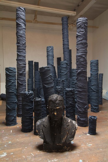 "Untitled (unknown), 2006, Mixed media columns, plaster bust, overall dimensions variable, ""Ordinary Culture:  Heikes / Helms / McMilian""  Walker Art Center, Minneapolis  curated by Doryun Chong  July - August 2006"