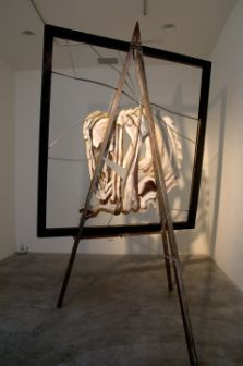 Giant fractured glass tripod, 2008, Enamel, oil paint, and lead on glass, wood frame, steel tripod, Overall dimensions: 92 tall, 58 wide and 4 deep; Glass: 62 x 58