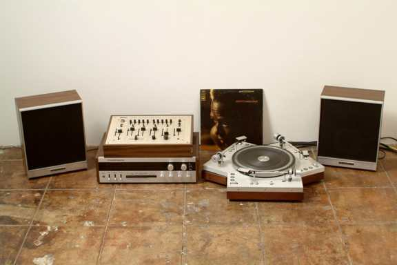 Untitled Triple Turntable, 2002, speakers, amp, mixer, 3 LP's, triple turntable, variable dimensions