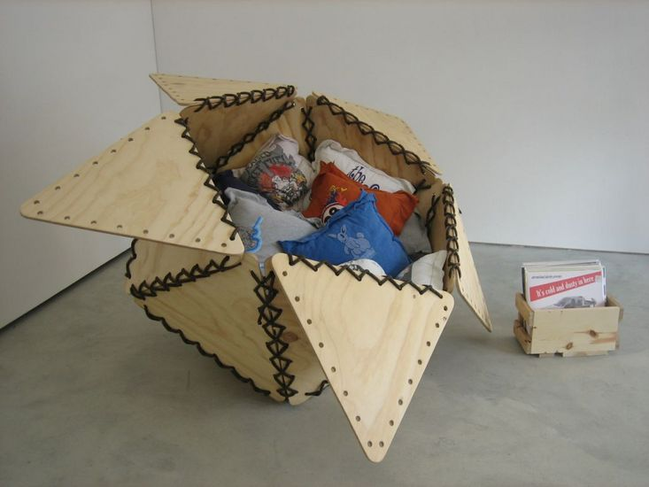 "Tunix of My Apathy I, 2007, Plywood, rope, artist's T-shirts sewn into pillows, stuffing material, 45"" x 60"" x 75"""