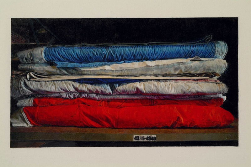 Still Life of The AIDS Memorial Quilt in Storage (Blocks 4336-4340), 2007, Colored pencil on paper, 6' x 3' (183.5 x 92 cm), detail