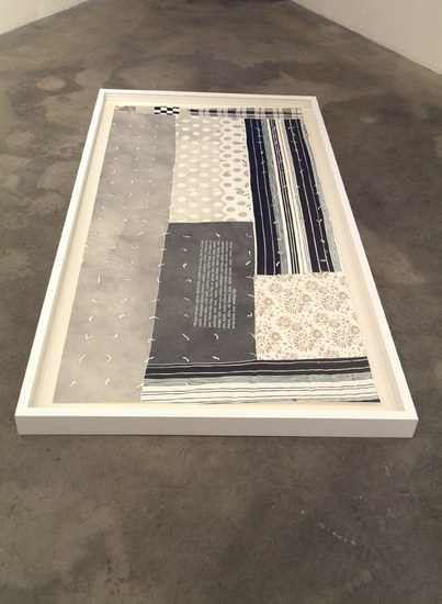 Some Materials Used in the Quilt, 2007, Colored pencil on paper, 3' x 6' (92 x 183.5cm), installation view