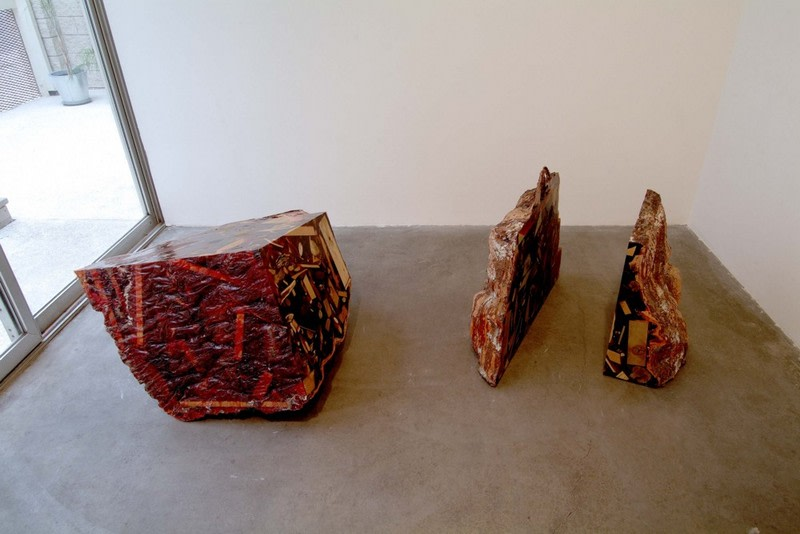 Red Wood, Resin, mixed media, Dimensions variable (3 Parts)