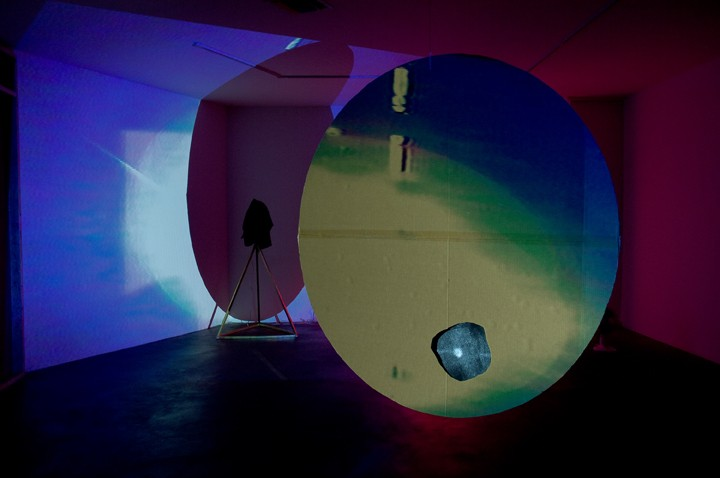 Circle Disk Rotation, 2008, VHS tape  2.5 hours, cardboard disk, installation view