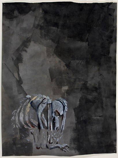 Skeleton of animal-man, tortured soul, 2008, Oil paint and graphite on paper, 98 x 72