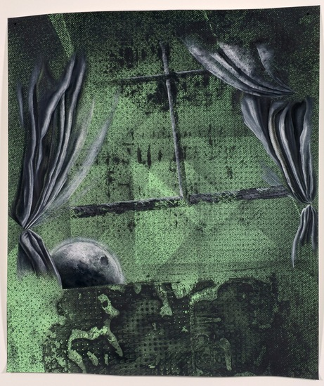 Moon creeping through window, 2008, Graphite, dirt, gesso, charcoal and enamel on paper, 72 x 60