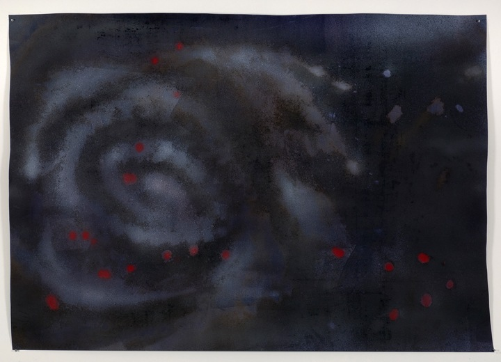 Aries, 2008, Graphite, dirt, gesso and enamel on paper, Approximately 60 x 85