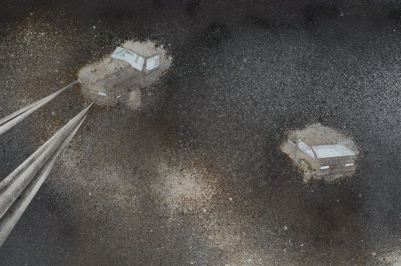 Untitled, 2007, Graphite, charcoal, dirt on paper, Diptych, 49