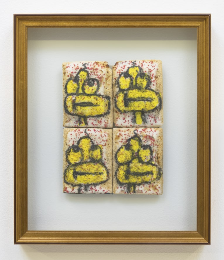 "Quad Figure (Four Tarts), 1997 - 1998, Pencil, marker, and acrylic on Pop Tart, 13.75"" H x 11.50"" W x 1.50"" D"