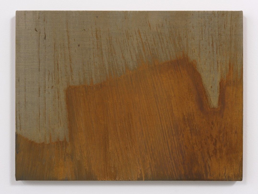 "Dreaming of the people, 2015, Rust on linen, 18"" H x 24"" W, Photo cred: Robert Wedemeyer"