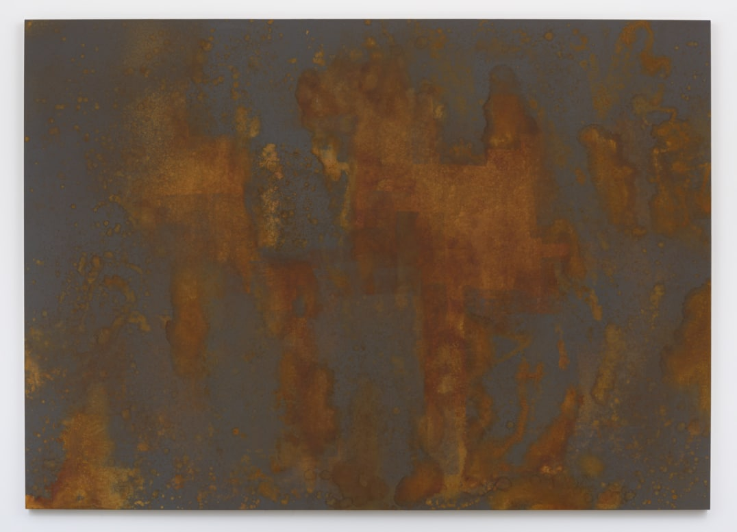 """the season of Darkness"", 2016, Rust on linen over panel, 90"" H x 126"" W, Photo credit: Robert Wedemeyer"