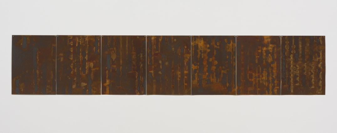 """Casting Binaries"", 2015, Rust on paper, 24"" H x 126"" W, Photo credit: Robert Wedemeyer"
