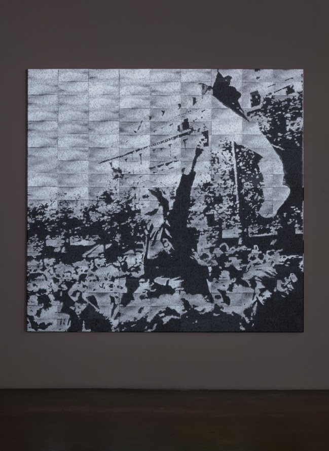 "Circa 1968, 2004, Compressed lint and projected light noise, 100"" H x 105"" W x 1.5"" D"