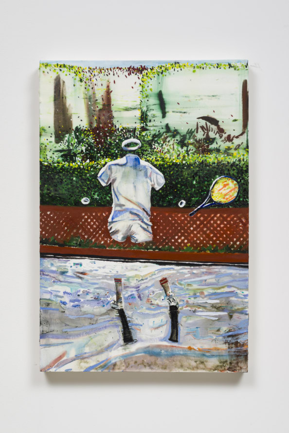 "The Tennis Player, 2016, Oil and cold wax on canvas, 36.50"" H x 24.50"" W (92.71 cm H x 62.23 cm W), Photo cred: Jeff McLane"
