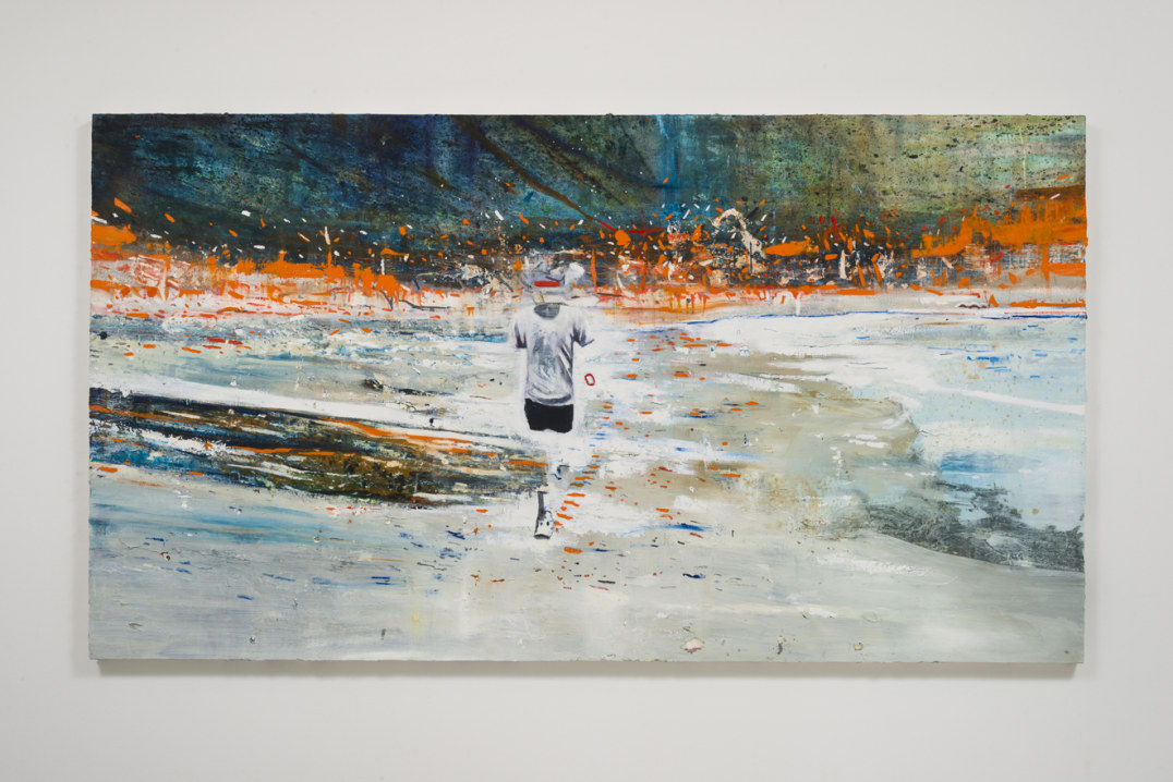"The Runner, 2016, Oil, graphite, cold wax on canvas, 56"" H x 100.50"" W (142.24 cm H x 255.27 cm W), Photo cred: Jeff McLane"