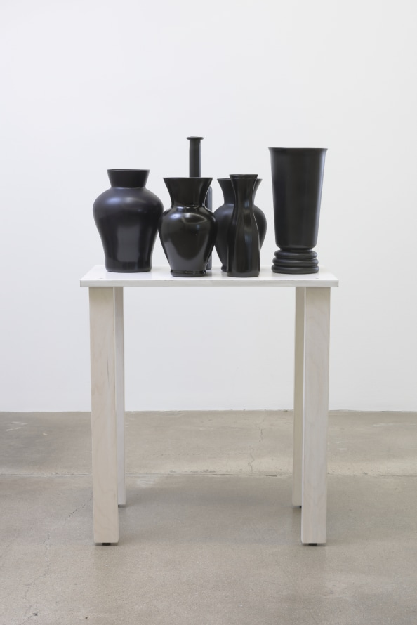 "shelf #9, 2016, Wood, glass vases, spray paint, 46.00"" H x 16.00"" W x 28.00"" D, Photo cred: Robert Wedemeyer"