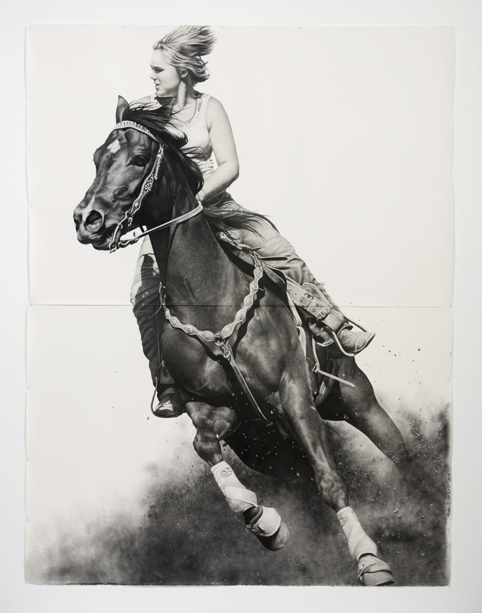 "Rodeo 3, 2016, Pencil and graphite powder on paper, 102.50"" H x 77"" W (260.35cm H x 195.58cm W), Photo credit: Jeff McLane"