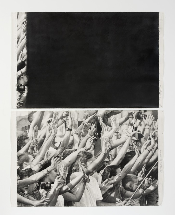 "Amend (Part 1 & 2), 2016, Pencil on paper, 66.50"" H x 45"" W (168.91cm H x 114.30cm W), Photo credit: Robert Wedemeyer"