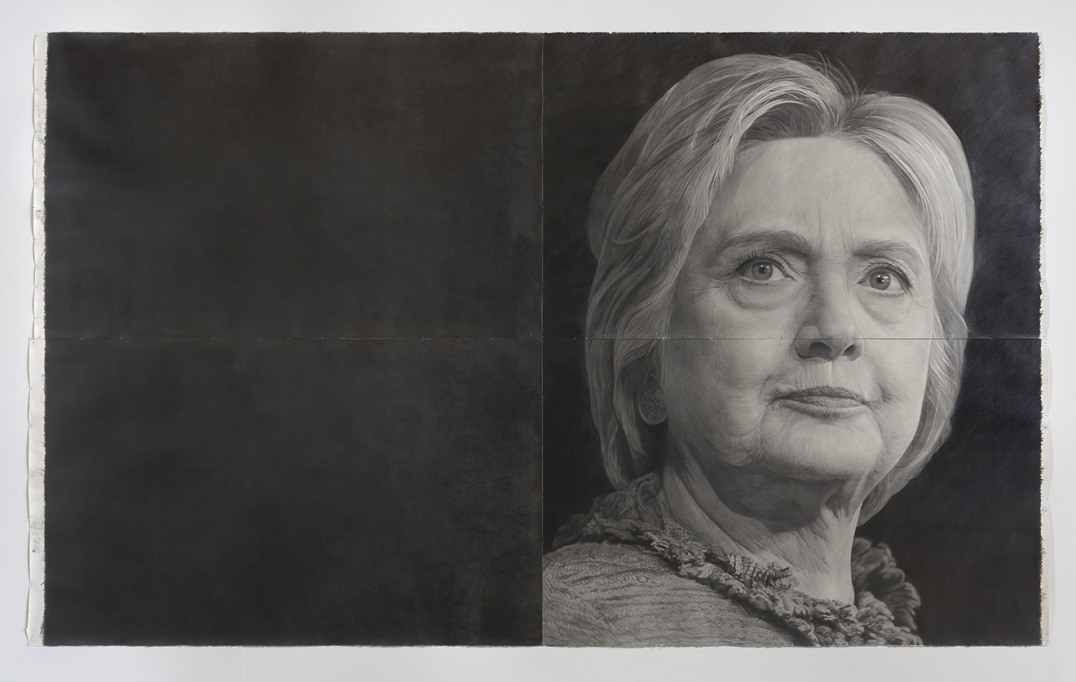 """Hillary Clinton,"" detail, 2016, Pencil on paper, speaker and audio recording, 103"" H x 171"" W (261.62cm H x 434.34cm W), Photo credit: Robert Wedemeyer"