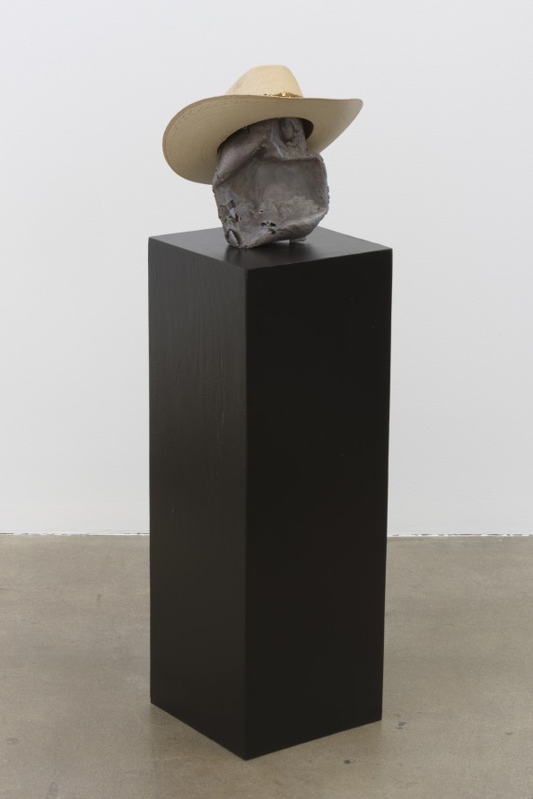 "Red Ronnie, 2017, Cast aluminum, enamel, hat, pedestal, 48.75 x 12.5 x 12.75"" [HxWxD], Photo credit: Robert Wedemeyer"