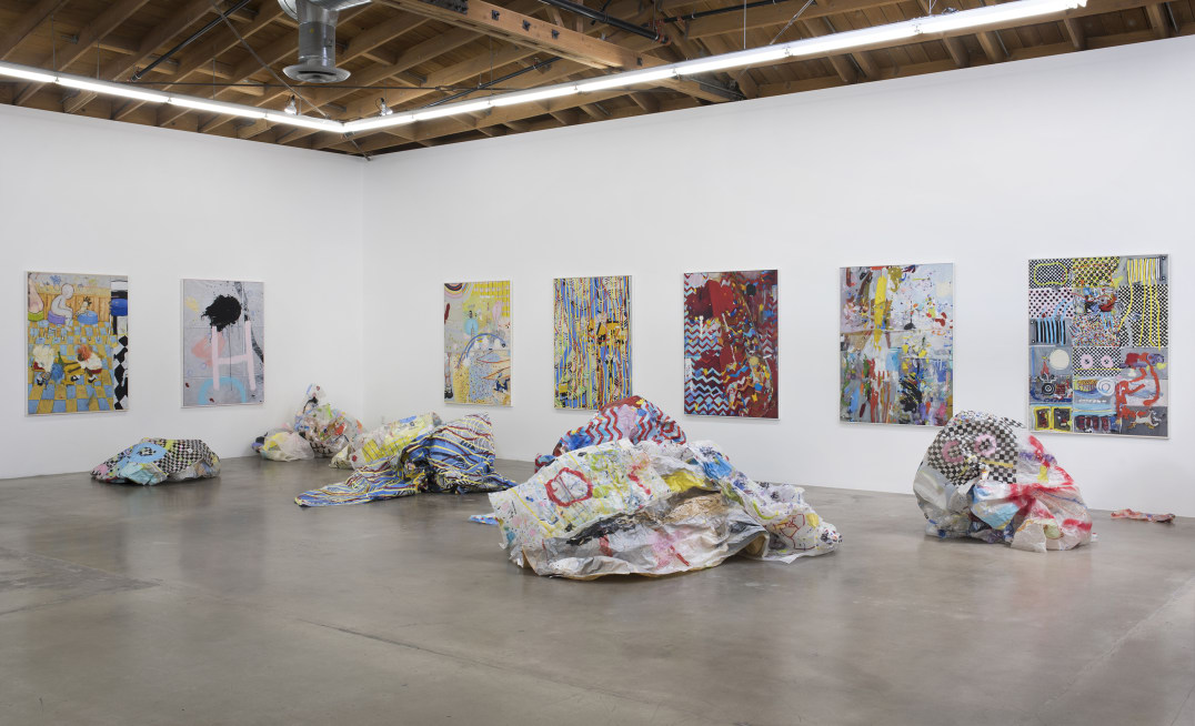 "Kim Dingle ""Crush Paintings,"" Installation View, 2016-2017, Oil on c-print and oil on glassine, Photo credit: Robert Wedemeyer"