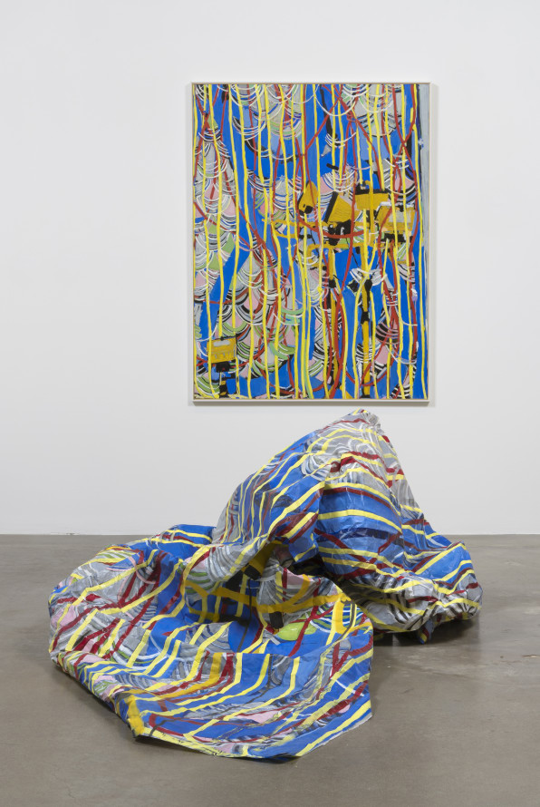 "Kim Dingle ""CRUSH (blue loops, lamps),"" 2016 Oil on c-print and oil on glassine Diptych, 65 x 49 x 1.5"" [HxWxD] framed, crushed painting dimensions variable"