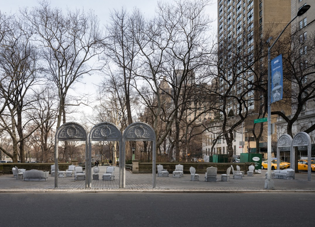 """Open House,"" Installation view, Presented by the Public Art Fund at Doris C. Freeman Plaza, Central Park South, New York, NY, 2016, Cast concrete, 26 objects, Photo credit: James Ewing"
