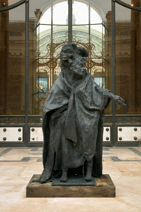 """Untitled (after Balzac, with Burgher),"" Installation view, Petit Palais, 2014, Cast bronze, 71 x 46 x 23 inches, Photo credit: Robert Glowacki"