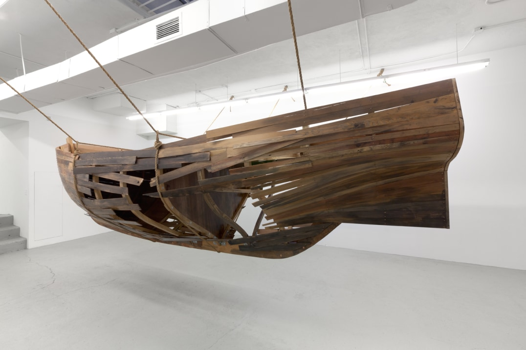 Vessel (Ravaged, Looted, & Burned), 2013, Hardwood (Ash and Western Red Cedar) with bronze and steel hardware, rope, 86 x 246 x 73 inches, Photo credit: Stephen Probert