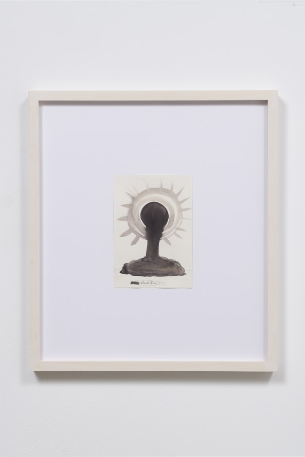 "Black Sun, 2015, Ink on paper, 22 x 19.5 x 1.5"" [HxWxD] (55.88 x 49.53 x 3.81 cm) framed, Photo credit: Robert Wedemeyer"