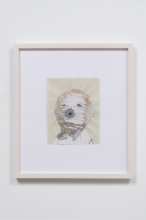 "Untitled, 2016, Mixed media on paper, 22 x 19.5 x 1.5"" [HxWxD] (55.88 x 49.53 x 3.81 cm) framed, Photo credit: Robert Wedemeyer"