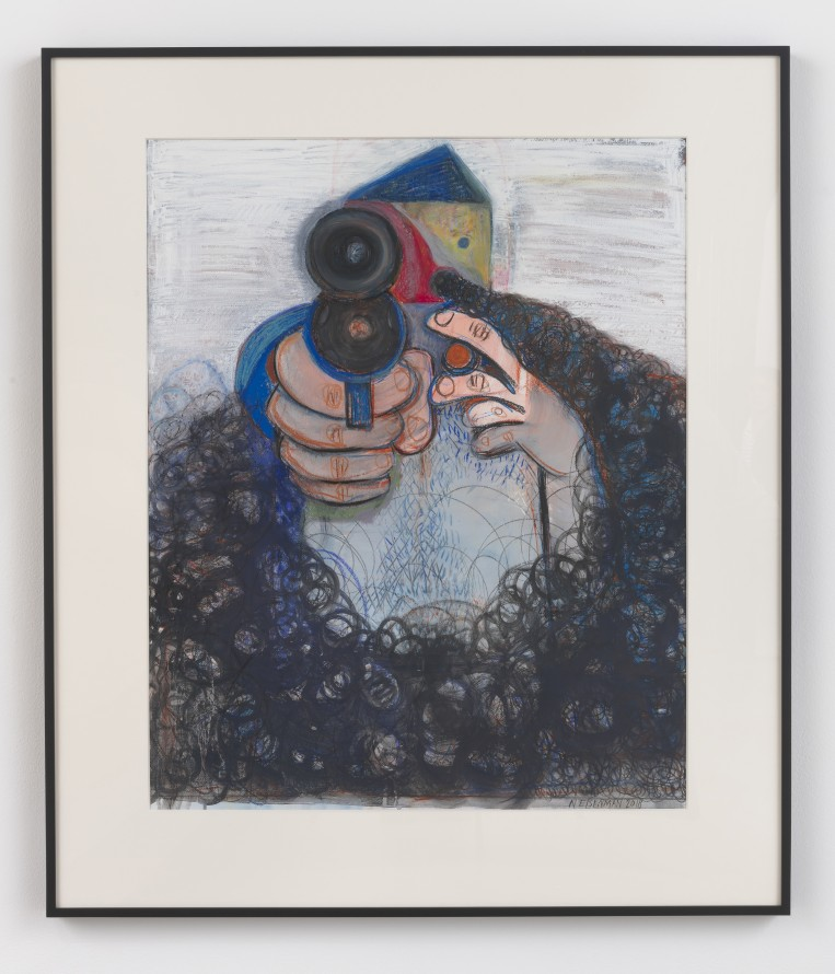 "The Shooter, 2018, Ink, charcoal, oil, acrylic and pencil on gessoed paper, 51 x 43.75 x 2"" [HxWxD] (129.54 x 111.12 x 5.08 cm) framed, Photo credit: Robert Wedemeyer"