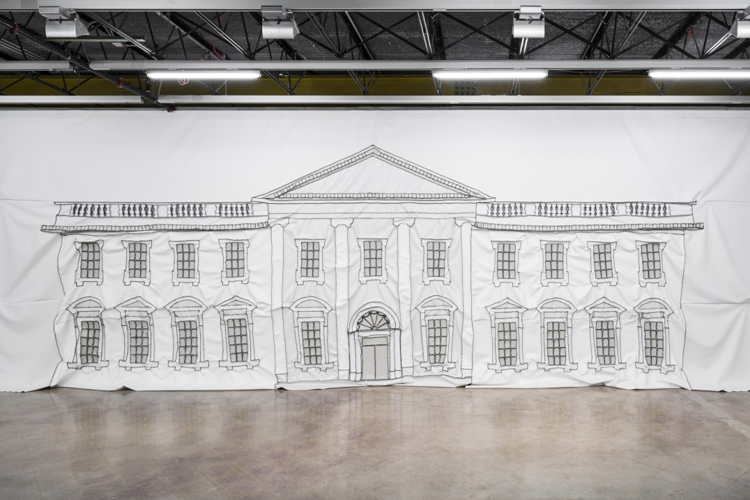 White House Painting, Thread and vinyl, 11.5 x 40' [HxW] (3.51 x 12.19 m), Photo credit: Colin Doyle
