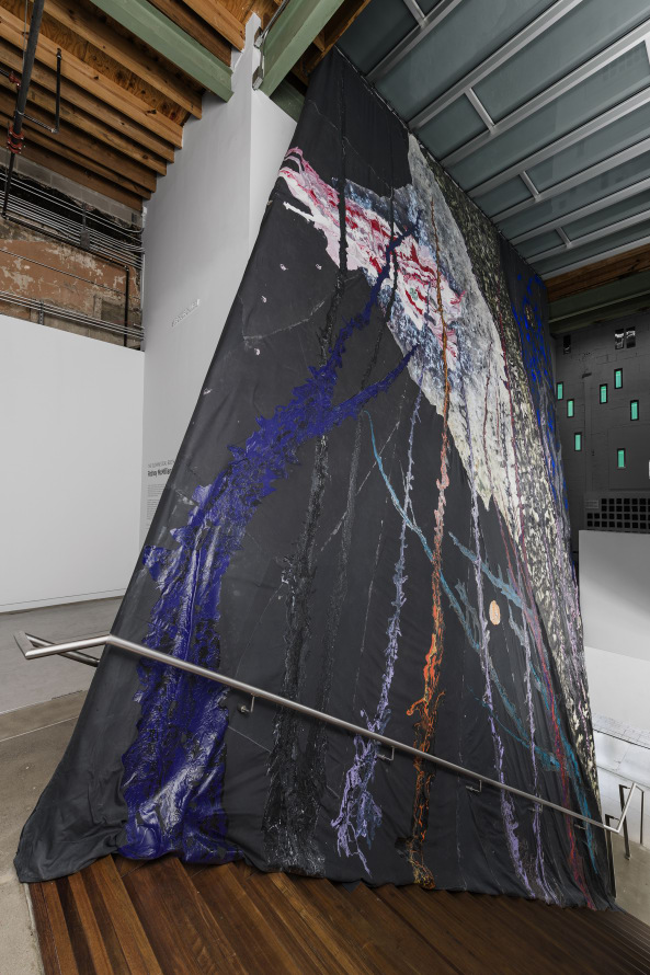 44.8617° N, 93.5606° W: coordinates to an ascension, 2018, Latex, acrylic, ink, and paper on duck cloth, 40 x 25' [HxW] (12.19 x 7.62 m), Photo credit: Colin Doyle