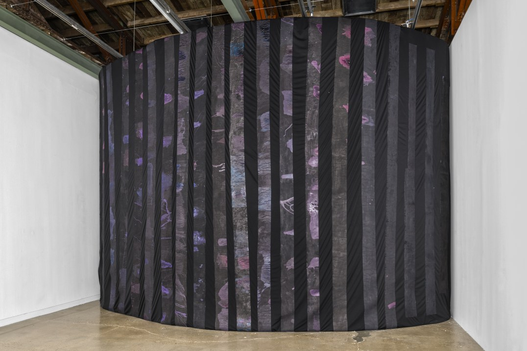 a prism, 2016, Fabric, canvas, acrylic, ink and sound installation, 13.09 x 22.09' [HxW] (3.99 x 6.73 m), Photo credit: Colin Doyle