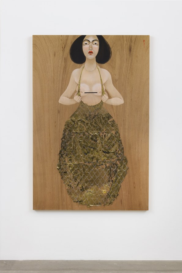 "Boob Gold, 2018, Oil on wood, 72 x 48"" [HxW] (182.88 x 121.92 cm), Photo credit: Jeff McLane"