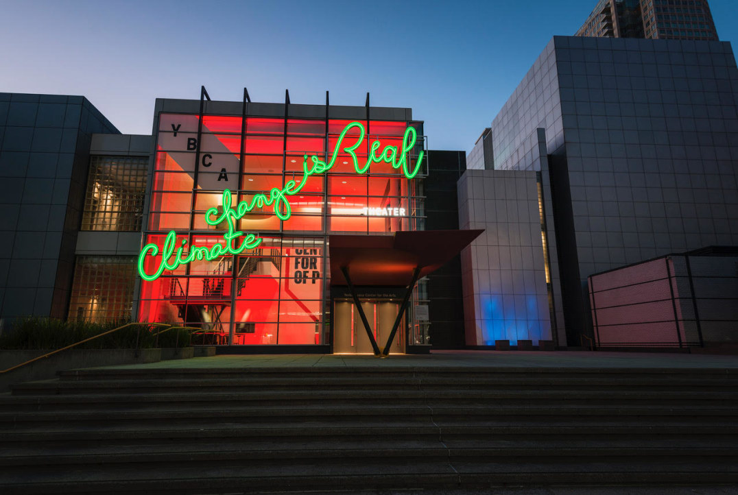 Climate Change is Real (Global Climate Action Summit, San Francisco), 2018, Aluminum, paint, neon, LED lights, Photo credit: Charlie Villyard