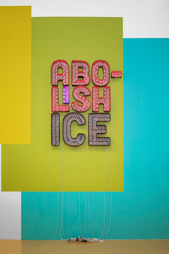 "Abolish ICE, 2018, Cardboard, LED lights, 84 x 68.5"" [HxW] (213.36 x 173.99 cm), Courtesy of the artist and Susanne Vielmetter Los Angeles Projects Collection of Susanne Vielmetter; Altadena, USA"