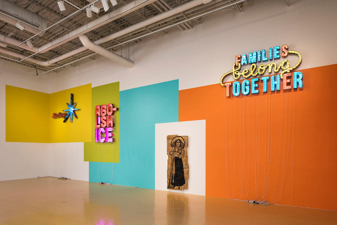 "Installation view, Andrea Bowers solo exhibition ""After Posada: A Revolution"" at El Paso Museum of Art, 2018"