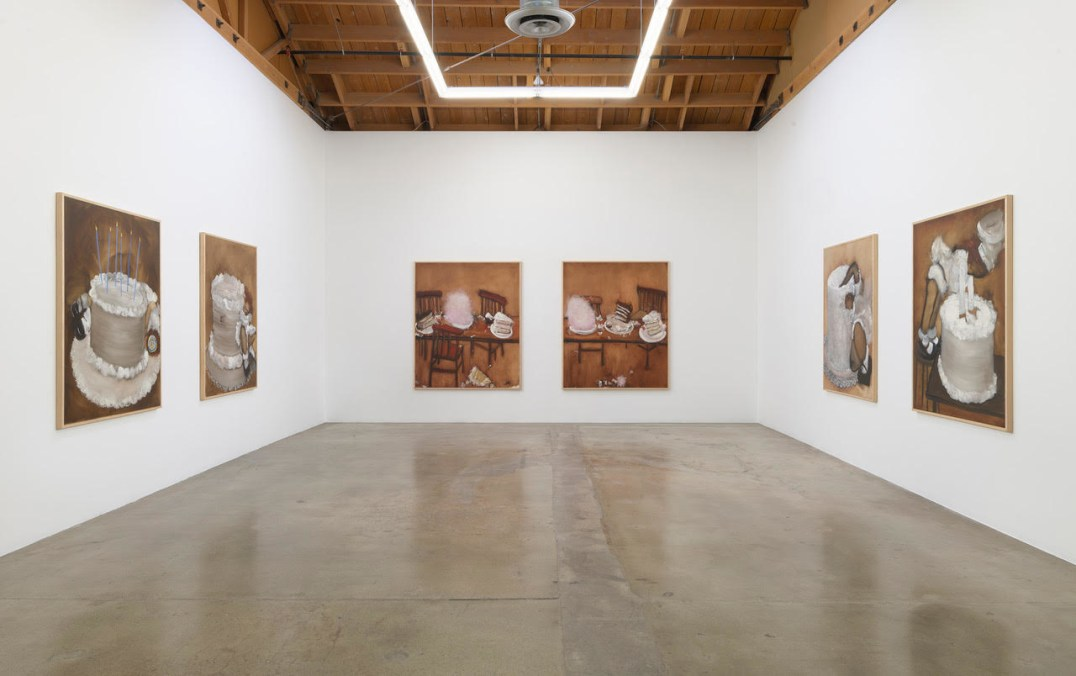 "Installation view, ""Kim Dingle: I Will Be Your Server (The Lost Supper paintings)"", Photo credit: Robert Wedemeyer"