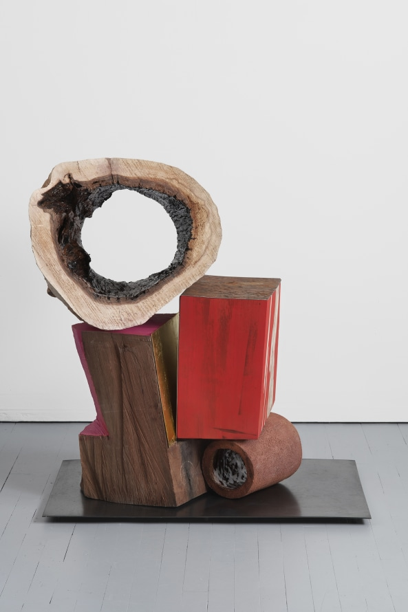 "Double Oculus, 2019, Glazed ceramic, hardwood, steel, gold leaf, paint, 36 x 35 x 28"" [HxWxD] (91.44 x 88.9 x 71.12 cm), Photo credit: Phoebe d'Heurle"