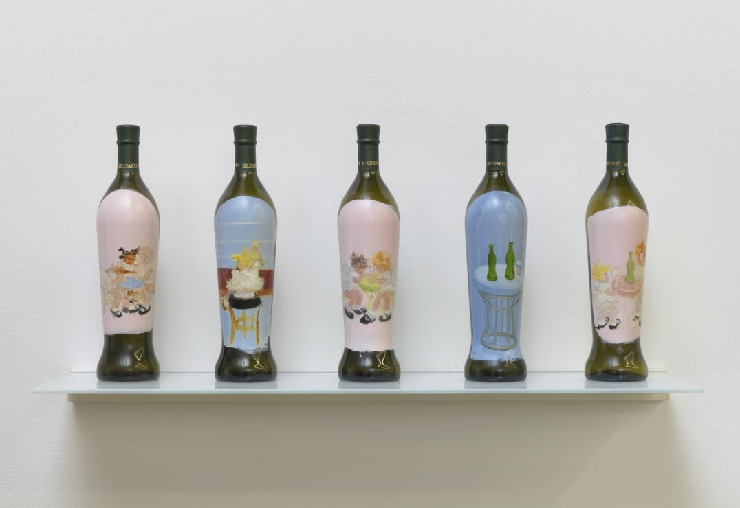 Quintets 3, 2013, 5 hand painted wine bottles on glass shelf, Dimensions vary, Photo credit: Robert Wedemeyer