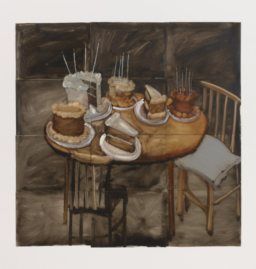 "Untitled (Cake), Oil on mylar, 72 x 72"" [HxW] (182.88 x 182.88 cm) overall dimensions; 18 x 24"" [HxW] (45.72 x 60.96 cm) each panel; 12 panels total, Photo credit: Robert Wedemeyer"