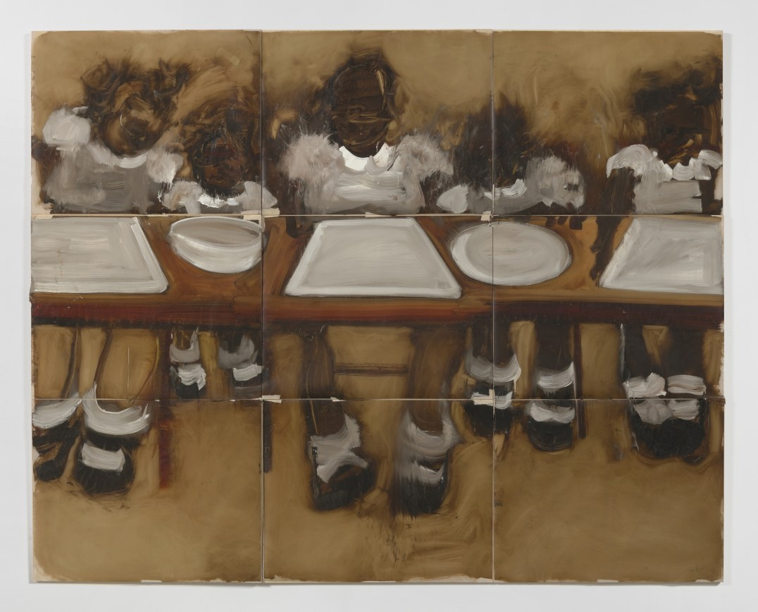"The Lost Supper (empty plates), 2006, Oil on mylar, 54 x 72"" [HxW] (144.78 x 182.88 cm) overall dimensions; 18 x 24"" [HxW] (45.72 x 60.96 cm) each panel; 9 panels total, Photo credit: Robert Wedemeyer"