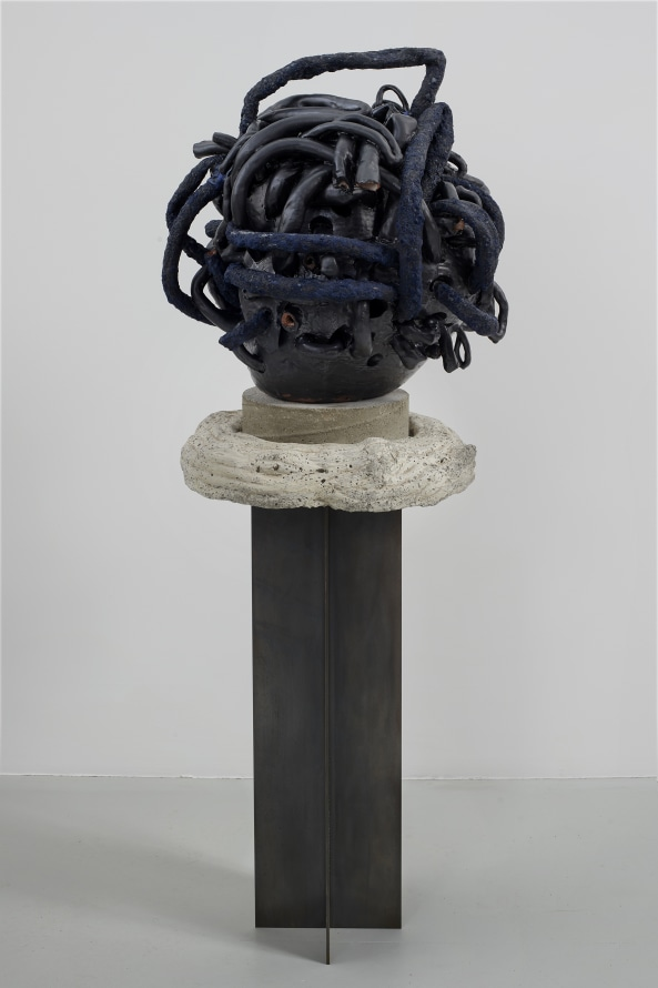 "Too, Too, 2019, Glazed ceramic, hand-molded cast concrete, steel, 68 x 22 x 19"" [HxWxD] (172.72 x 55.88 x 48.26 cm), Photo credit: Phoebe d'Heurle"